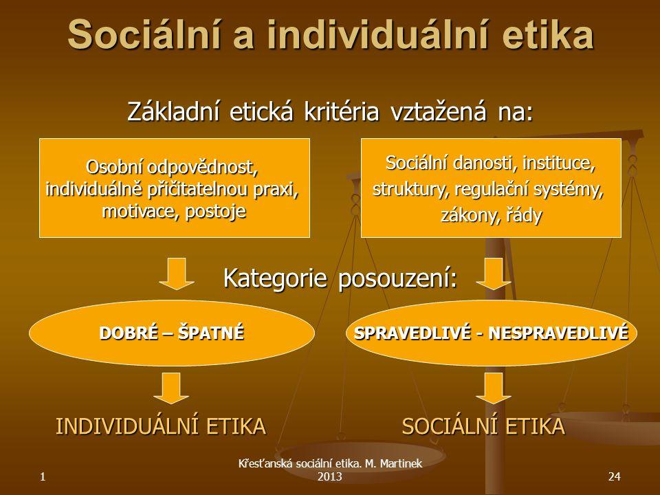 1 Křesťanská sociální etika. M. Martinek 201324 Sociální a individuální etika INDIVIDUÁLNÍ ETIKA SOCIÁLNÍ ETIKA Základní etická kritéria vztažená na: