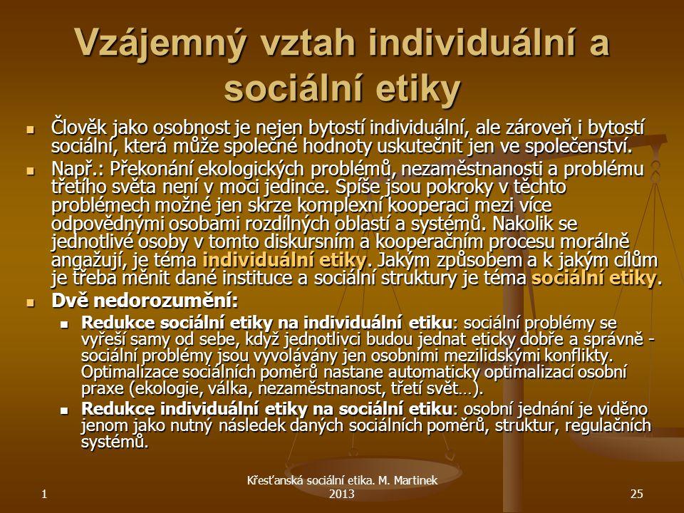 1 Křesťanská sociální etika. M. Martinek 201325 Vzájemný vztah individuální a sociální etiky Člověk jako osobnost je nejen bytostí individuální, ale z
