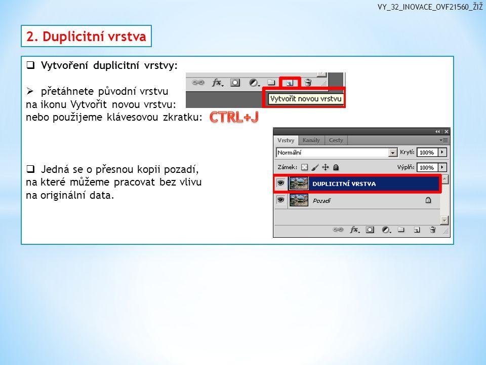 VY_32_INOVACE_OVF21560_ŽIŽ  Vytvoření duplicitní vrstvy:  přetáhnete původní vrstvu na ikonu Vytvořit novou vrstvu: nebo použijeme klávesovou zkratku:  Jedná se o přesnou kopii pozadí, na které můžeme pracovat bez vlivu na originální data.
