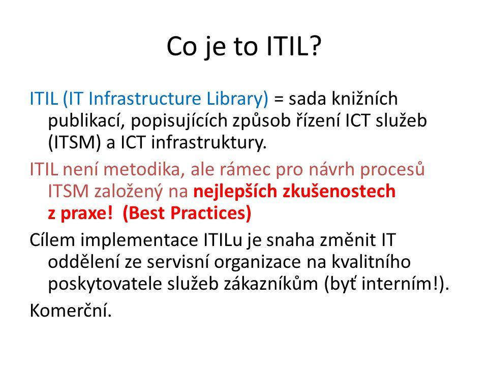 """Vztah ITIL a ISO norem ISO 9000 – definuje procesní přístup – řízení kvality procesu ITIL – rámec pro řízení procesů, určuje """"jak bychom to měli dělat ISO 20000 – norma pro řízení IT služeb (ITSM), definuje kritéria, k nímž by měla iniciativa zdokonalování IT procesů směrovat – """"co bychom měli dělat"""
