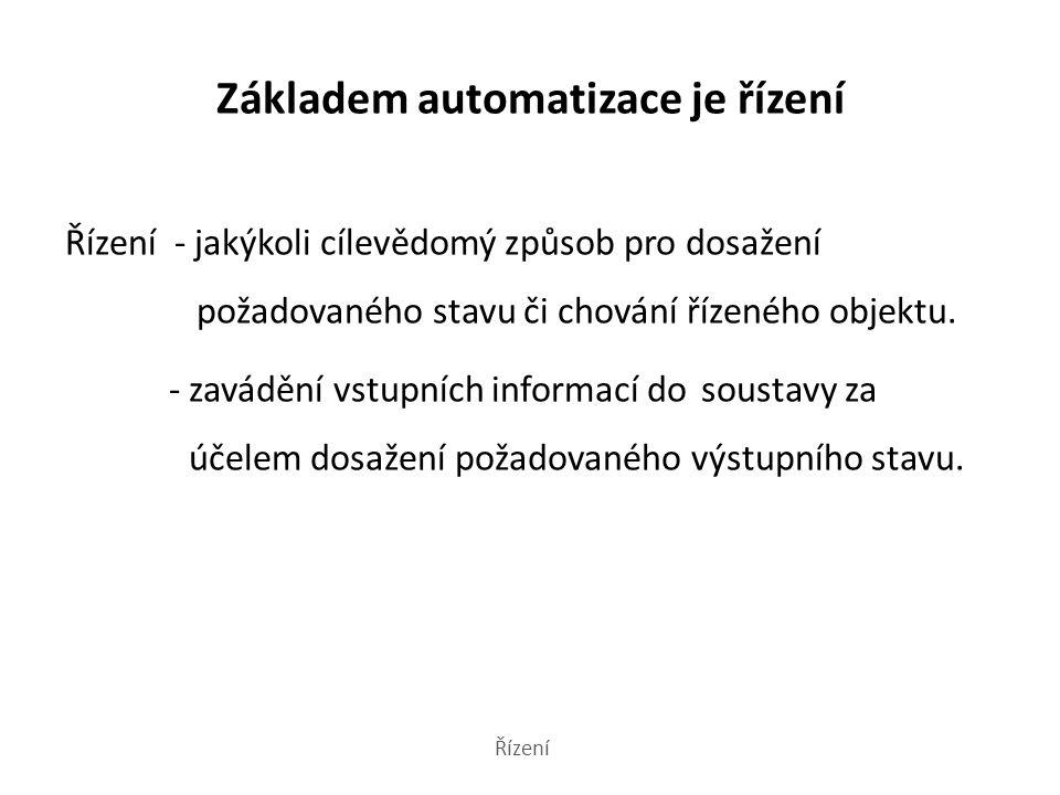 Základem automatizace je řízení Řízení - jakýkoli cílevědomý způsob pro dosažení požadovaného stavu či chování řízeného objektu.