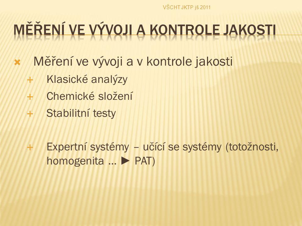  Měření ve vývoji a v kontrole jakosti  Klasické analýzy  Chemické složení  Stabilitní testy  Expertní systémy – učící se systémy (totožnosti, homogenita … ► PAT) VŠCHT JKTP jš 2011
