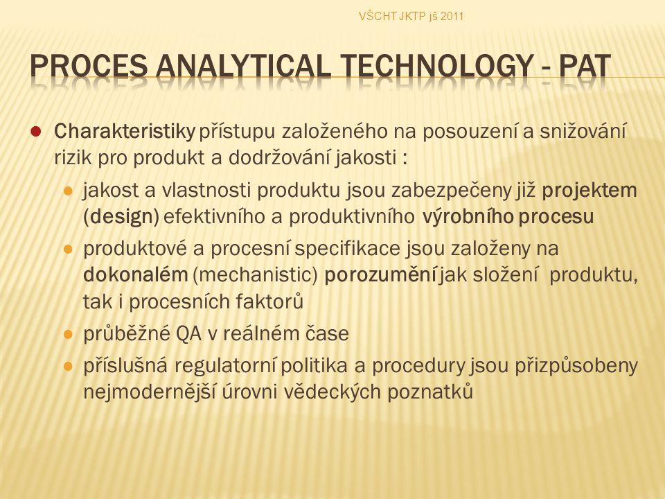 Charakteristiky přístupu založeného na posouzení a snižování rizik pro produkt a dodržování jakosti : jakost a vlastnosti produktu jsou zabezpečeny již projektem (design) efektivního a produktivního výrobního procesu produktové a procesní specifikace jsou založeny na dokonalém (mechanistic) porozumění jak složení produktu, tak i procesních faktorů průběžné QA v reálném čase příslušná regulatorní politika a procedury jsou přizpůsobeny nejmodernější úrovni vědeckých poznatků VŠCHT JKTP jš 2011