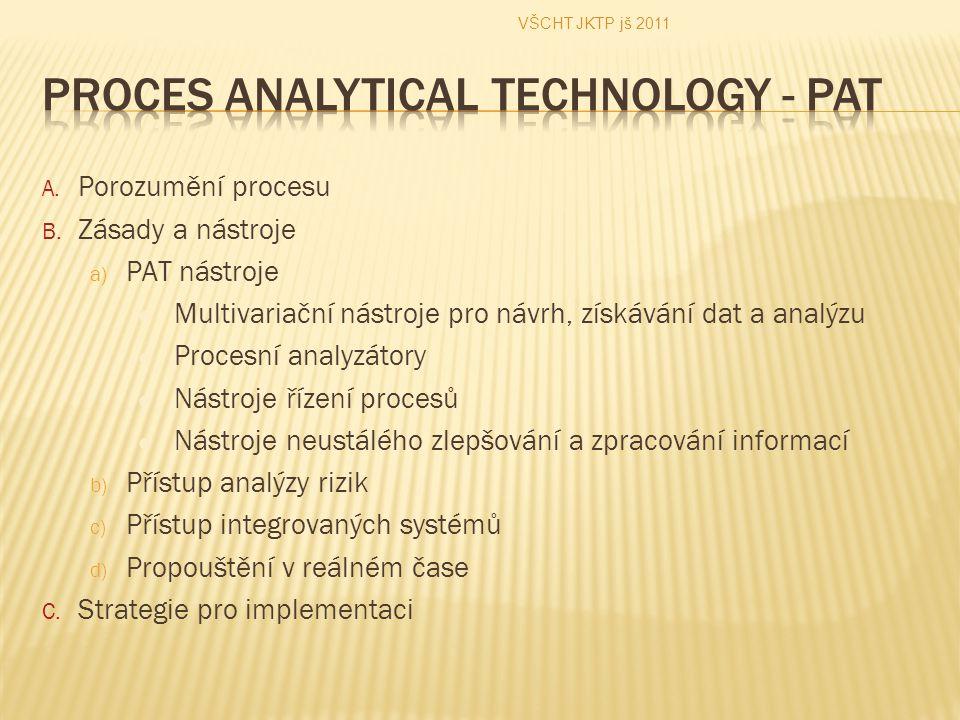 A. Porozumění procesu B. Zásady a nástroje a) PAT nástroje Multivariační nástroje pro návrh, získávání dat a analýzu Procesní analyzátory Nástroje říz