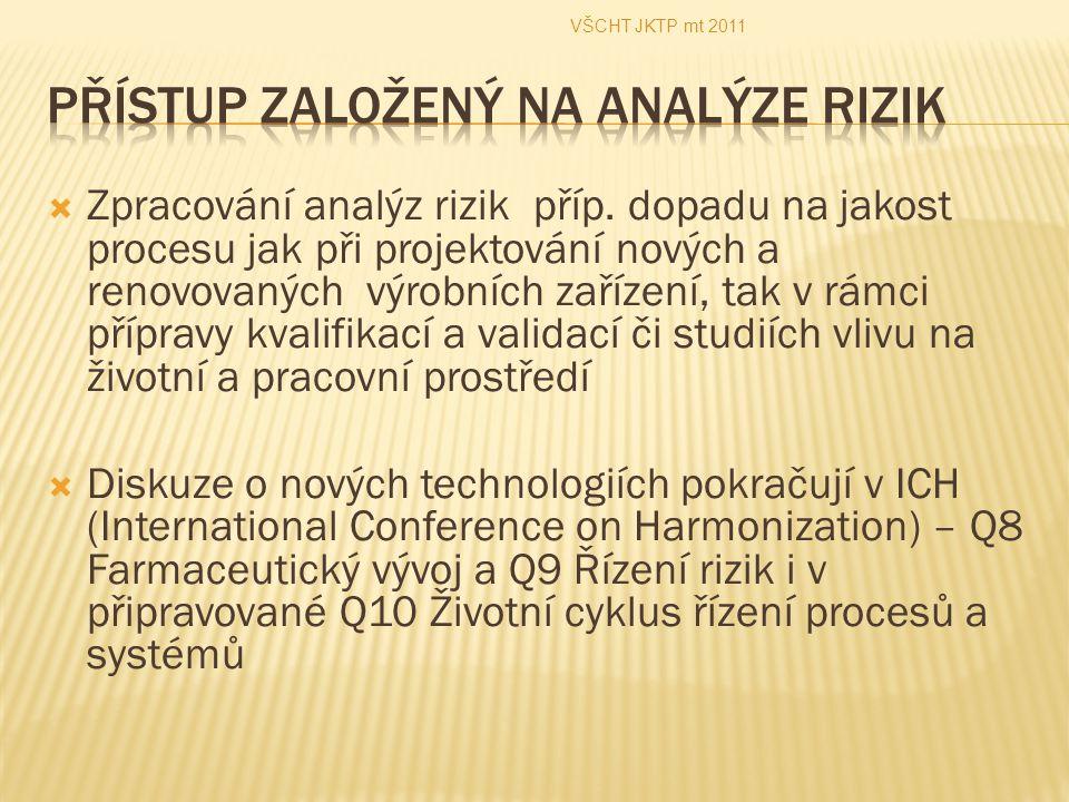  Zpracování analýz rizik příp. dopadu na jakost procesu jak při projektování nových a renovovaných výrobních zařízení, tak v rámci přípravy kvalifika