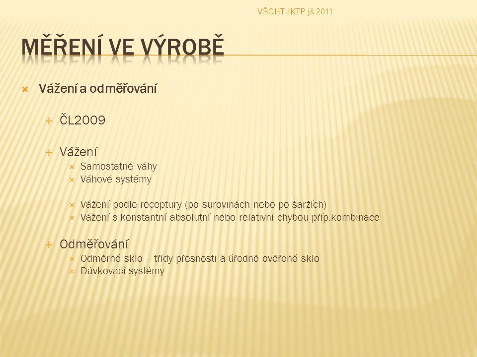  Vážení a odměřování  ČL2009  Vážení  Samostatné váhy  Váhové systémy  Vážení podle receptury (po surovinách nebo po šaržích)  Vážení s konstan