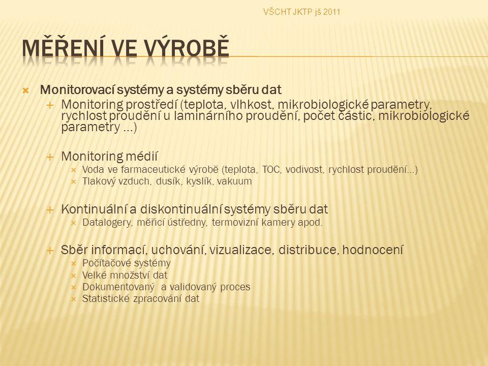  Monitorovací systémy a systémy sběru dat  Monitoring prostředí (teplota, vlhkost, mikrobiologické parametry, rychlost proudění u laminárního proudě