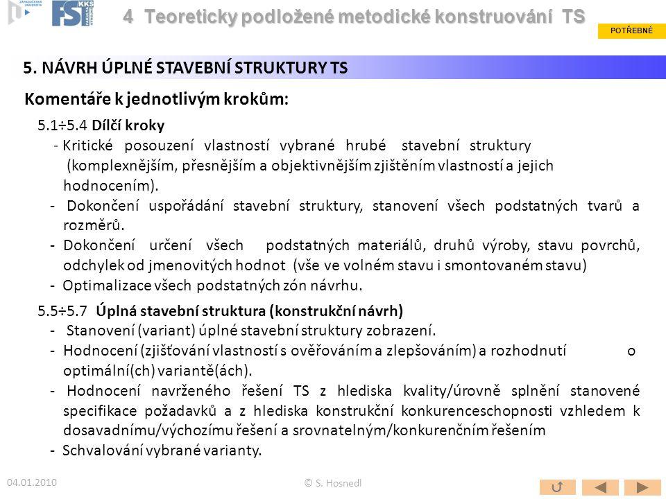 Komentáře k jednotlivým krokům: 5.1÷5.4 Dílčí kroky - Kritické posouzení vlastností vybrané hrubé stavební struktury (komplexnějším, přesnějším a obje