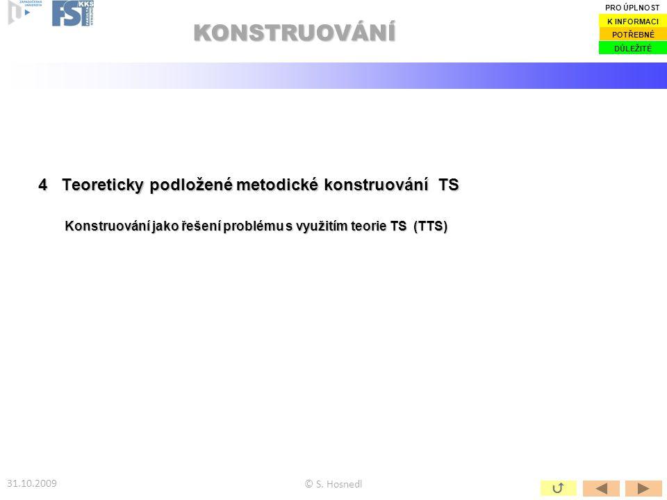 4 Teoreticky podložené metodické konstruování TS Konstruování jako řešení problému s využitím teorie TS (TTS) KONSTRUOVÁNÍ 2 © S. Hosnedl 31.10.2009 