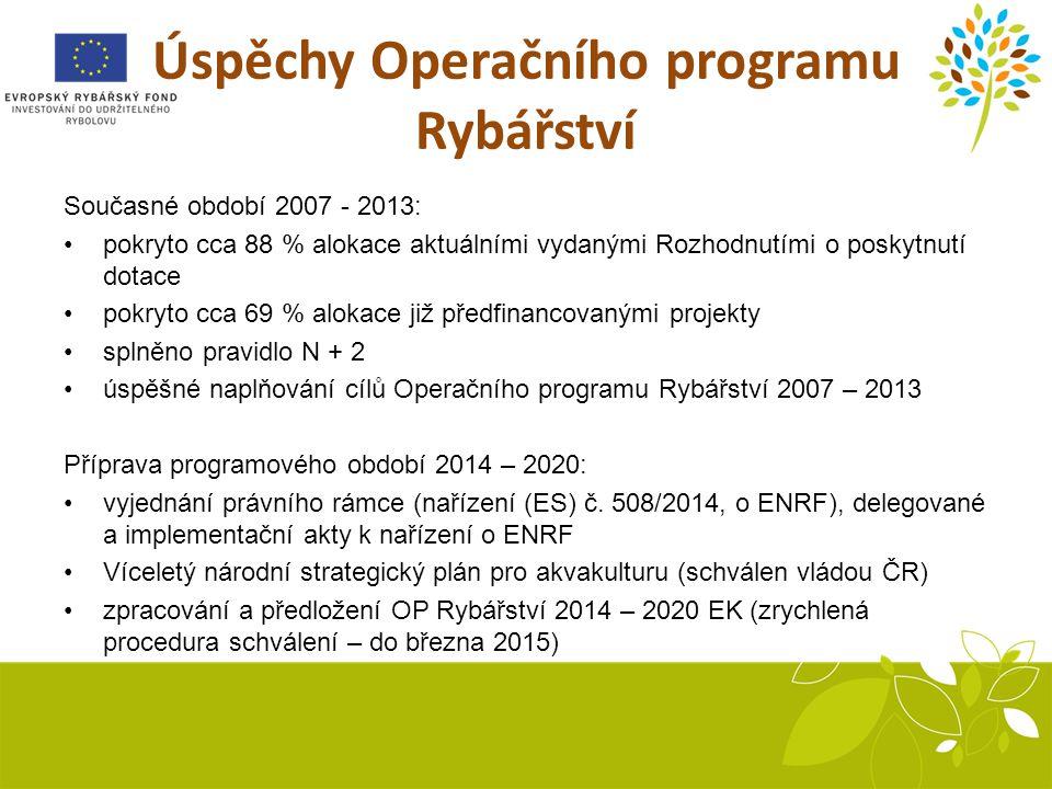 Úspěchy Operačního programu Rybářství Současné období 2007 - 2013: pokryto cca 88 % alokace aktuálními vydanými Rozhodnutími o poskytnutí dotace pokryto cca 69 % alokace již předfinancovanými projekty splněno pravidlo N + 2 úspěšné naplňování cílů Operačního programu Rybářství 2007 – 2013 Příprava programového období 2014 – 2020: vyjednání právního rámce (nařízení (ES) č.