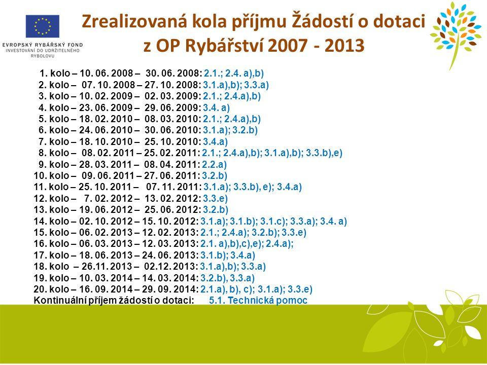 Zrealizovaná kola příjmu Žádostí o dotaci z OP Rybářství 2007 - 2013 1.