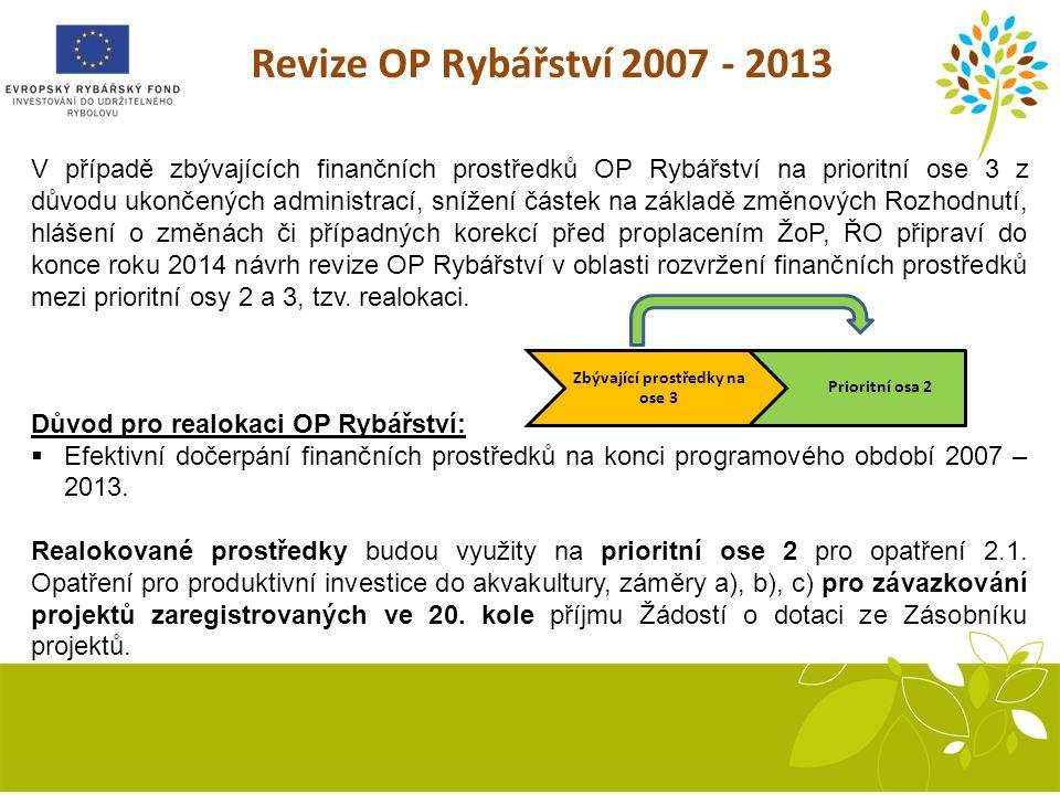 Revize OP Rybářství 2007 - 2013 V případě zbývajících finančních prostředků OP Rybářství na prioritní ose 3 z důvodu ukončených administrací, snížení částek na základě změnových Rozhodnutí, hlášení o změnách či případných korekcí před proplacením ŽoP, ŘO připraví do konce roku 2014 návrh revize OP Rybářství v oblasti rozvržení finančních prostředků mezi prioritní osy 2 a 3, tzv.