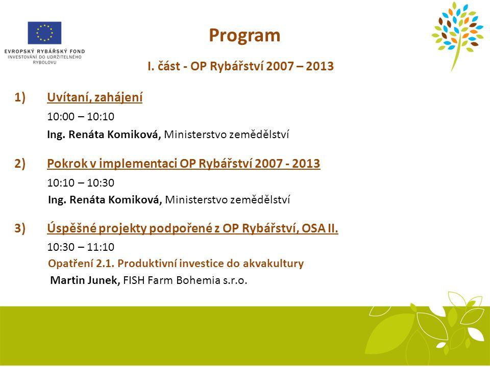 I.část - OP Rybářství 2007 – 2013 1)Uvítaní, zahájení 10:00 – 10:10 Ing.