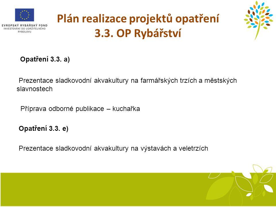 Plán realizace projektů opatření 3.3.OP Rybářství Opatření 3.3.