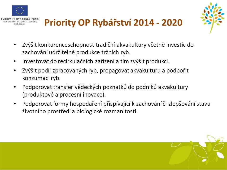 Priority OP Rybářství 2014 - 2020 Zvýšit konkurenceschopnost tradiční akvakultury včetně investic do zachování udržitelné produkce tržních ryb.