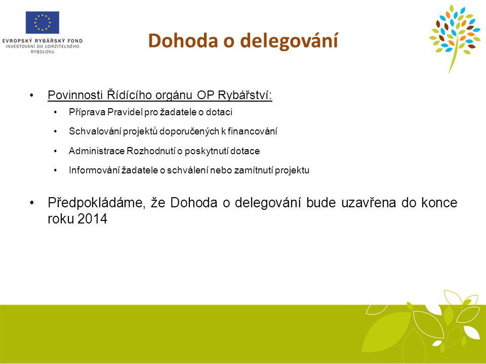 Dohoda o delegování Povinnosti Řídícího orgánu OP Rybářství: Příprava Pravidel pro žadatele o dotaci Schvalování projektů doporučených k financování Administrace Rozhodnutí o poskytnutí dotace Informování žadatele o schválení nebo zamítnutí projektu Předpokládáme, že Dohoda o delegování bude uzavřena do konce roku 2014