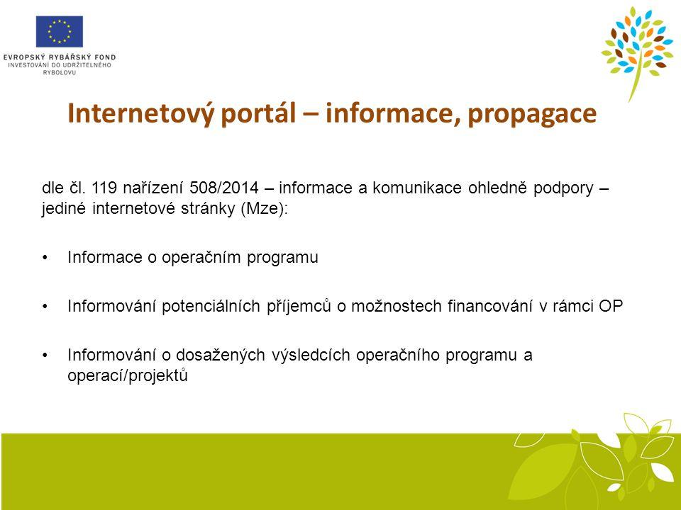 Internetový portál – informace, propagace dle čl.
