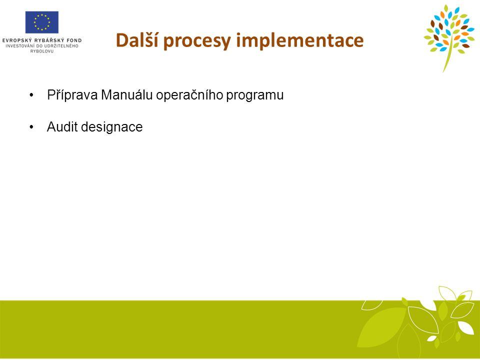 Další procesy implementace Příprava Manuálu operačního programu Audit designace