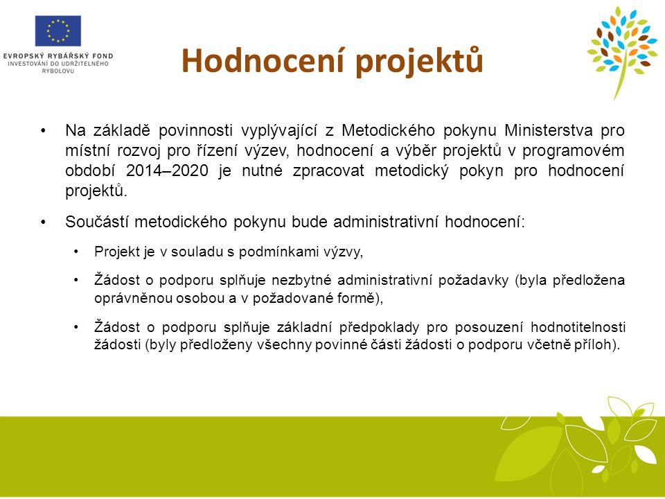 Hodnocení projektů Na základě povinnosti vyplývající z Metodického pokynu Ministerstva pro místní rozvoj pro řízení výzev, hodnocení a výběr projektů v programovém období 2014–2020 je nutné zpracovat metodický pokyn pro hodnocení projektů.