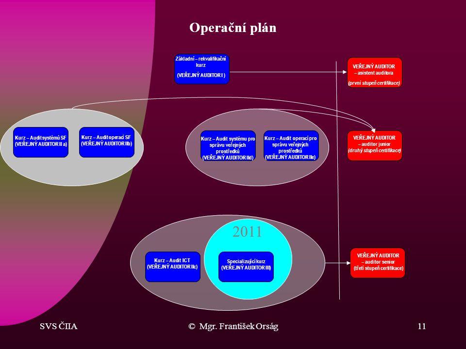 SVS ČIIA© Mgr. František Orság10 Operační plán Hlavní záměry MF a ČIIA pro období 2009 – 2013 –zajištění inovace programů vzdělávání veřejných auditor