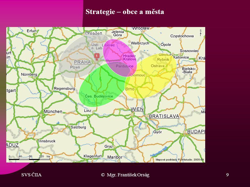 SVS ČIIA© Mgr. František Orság8 Strategie Podstata úspěchu: –znát potřeby a uspokojovat je, –komunikovat, –organizovat homogenní skupiny IA – komodity