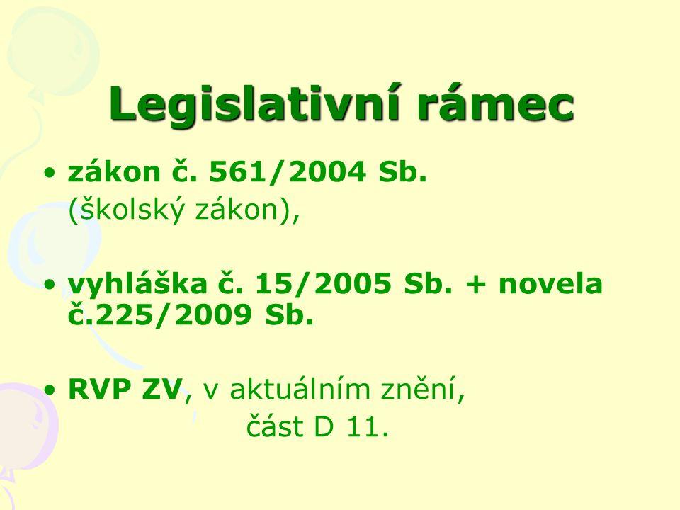Legislativní rámec zákon č. 561/2004 Sb. (školský zákon), vyhláška č.