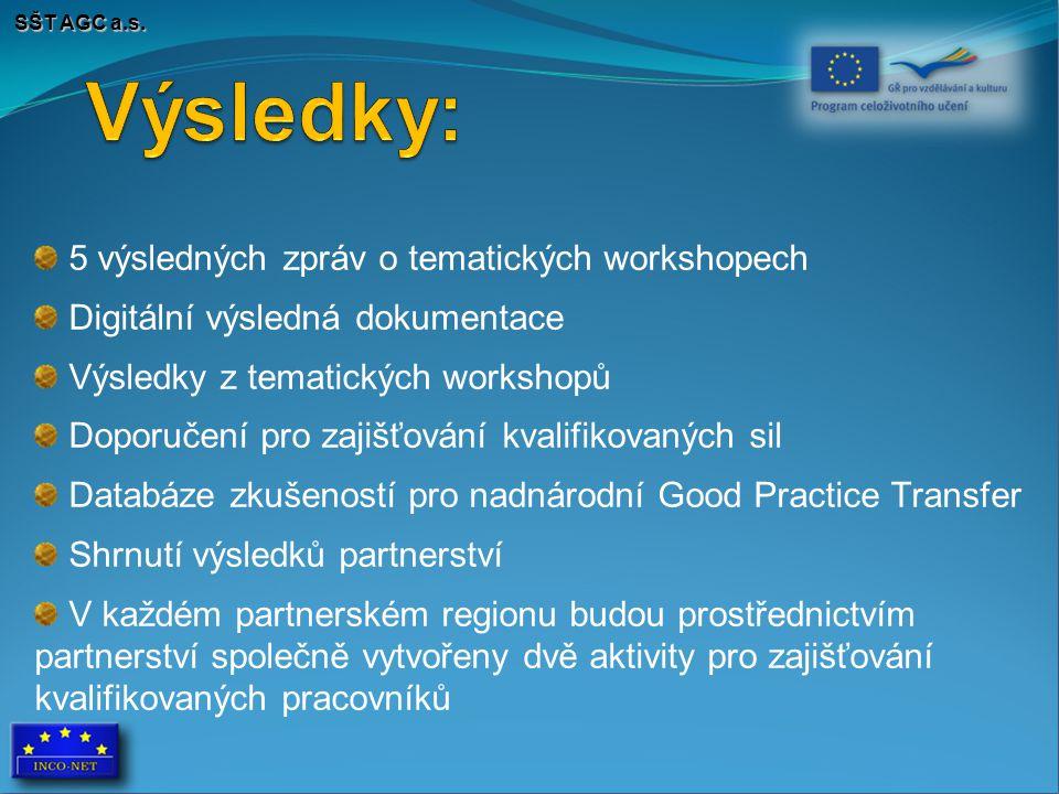 SŠT AGC a.s. 5 výsledných zpráv o tematických workshopech Digitální výsledná dokumentace Výsledky z tematických workshopů Doporučení pro zajišťování k