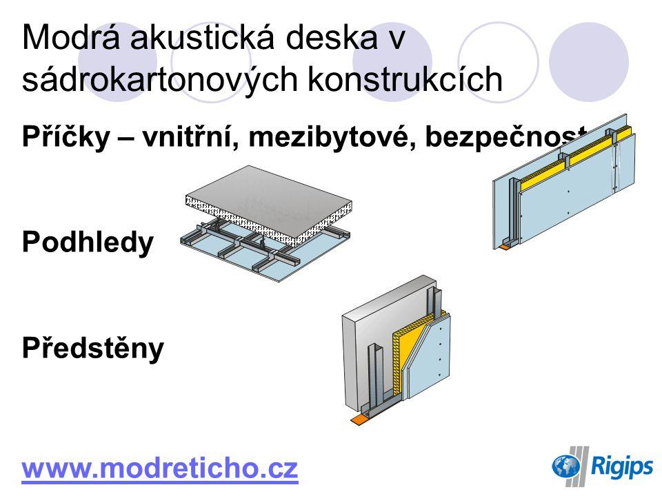 Příčky – vnitřní, mezibytové, bezpečnostní Podhledy Předstěny www.modreticho.cz Modrá akustická deska v sádrokartonových konstrukcích