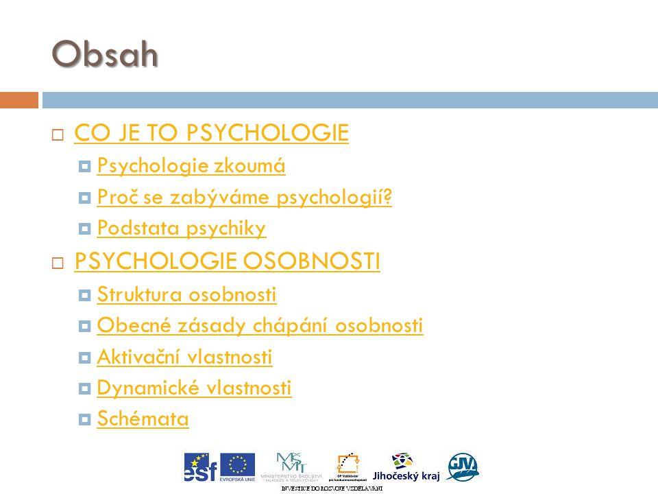 Obsah  CO JE TO PSYCHOLOGIE CO JE TO PSYCHOLOGIE  Psychologie zkoumá Psychologie zkoumá  Proč se zabýváme psychologií.