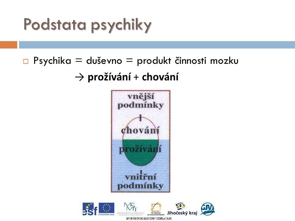 Podstata psychiky  Psychika = duševno = produkt činnosti mozku → prožívání + chování