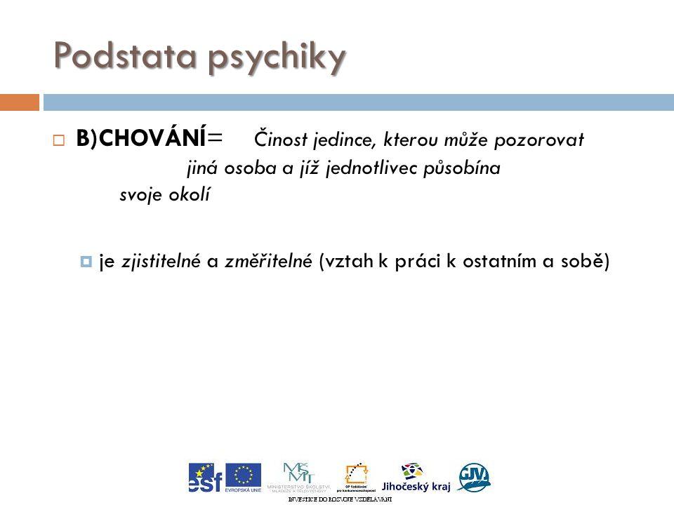 Podstata psychiky  B)CHOVÁNÍ= Činost jedince, kterou může pozorovat jiná osoba a jíž jednotlivec působína svoje okolí  je zjistitelné a změřitelné (vztah k práci k ostatním a sobě)
