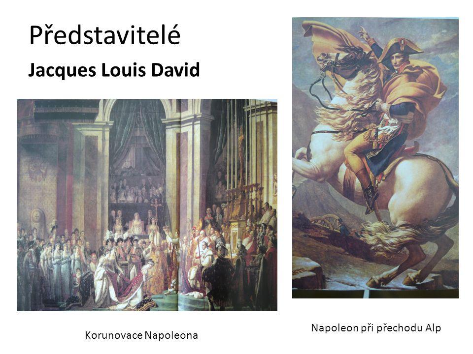 Představitelé Jacques Louis David Korunovace Napoleona Napoleon při přechodu Alp