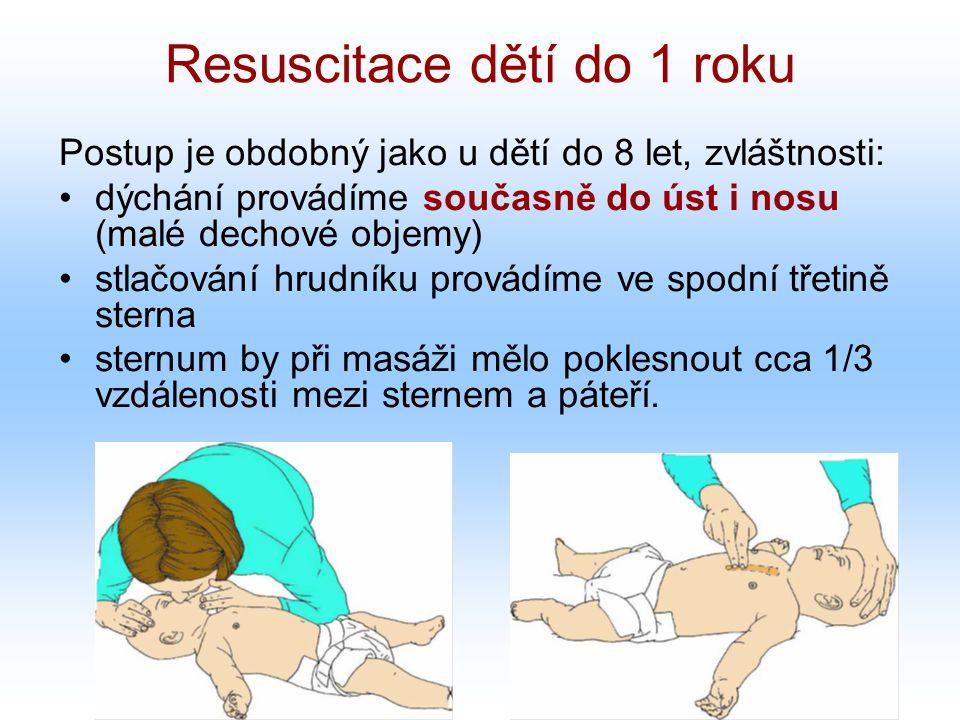 Resuscitace dětí do 1 roku Postup je obdobný jako u dětí do 8 let, zvláštnosti: dýchání provádíme současně do úst i nosu (malé dechové objemy) stlačování hrudníku provádíme ve spodní třetině sterna sternum by při masáži mělo poklesnout cca 1/3 vzdálenosti mezi sternem a páteří.