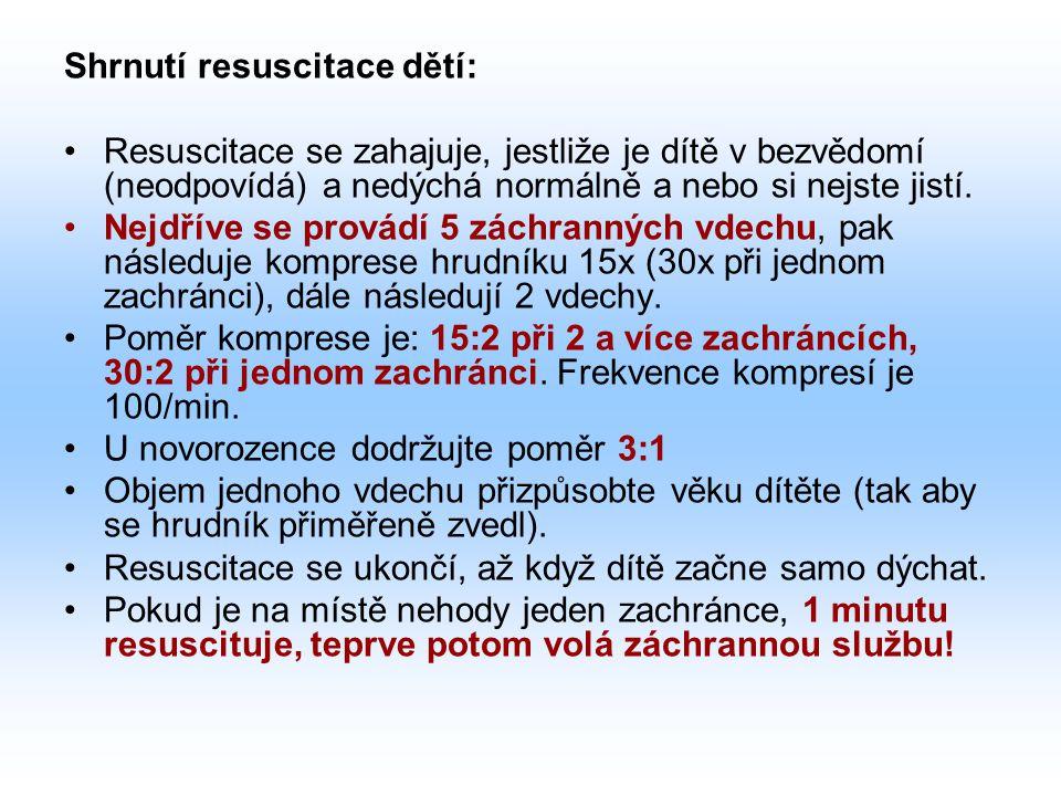 Shrnutí resuscitace dětí: Resuscitace se zahajuje, jestliže je dítě v bezvědomí (neodpovídá) a nedýchá normálně a nebo si nejste jistí.
