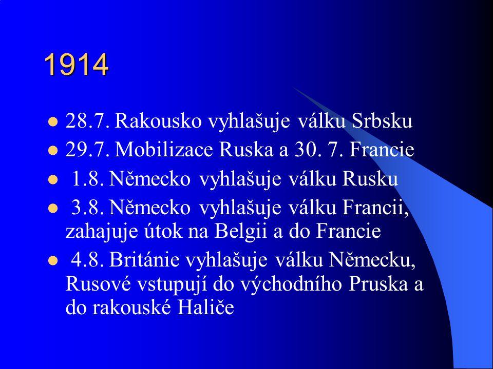 1914 28.7.Rakousko vyhlašuje válku Srbsku 29.7. Mobilizace Ruska a 30.