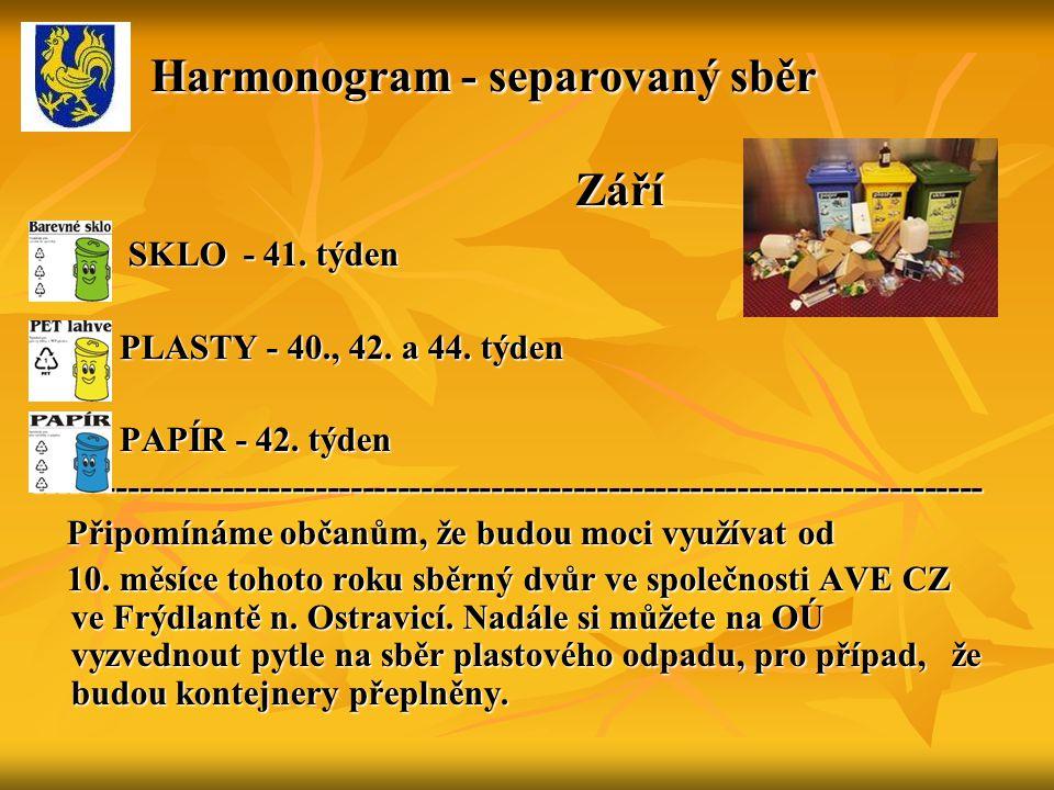 Harmonogram - separovaný sběr Září Harmonogram - separovaný sběr Září SKLO - 41.