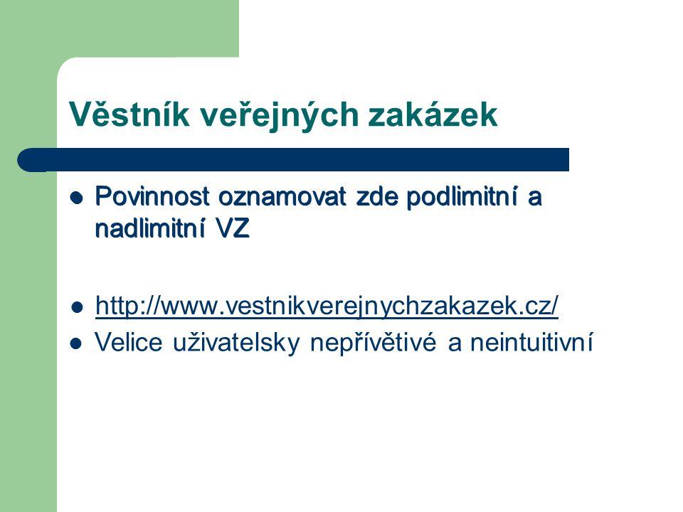 Věstník veřejných zakázek Povinnost oznamovat zde podlimitní a nadlimitní VZ http://www.vestnikverejnychzakazek.cz/ Povinnost oznamovat zde podlimitní