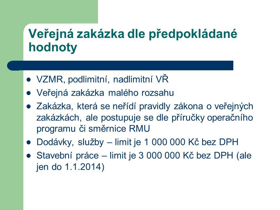 VZMR druhy Do 200 000 Kč bez DPH není třeba provádět VŘ – stačí tzv.