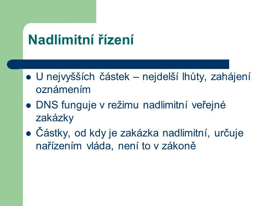 Nadlimitní řízení U nejvyšších částek – nejdelší lhůty, zahájení oznámením DNS funguje v režimu nadlimitní veřejné zakázky Částky, od kdy je zakázka n