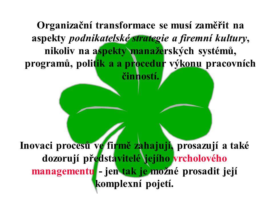 Výběr nositelů organizační změny: Nalezení potenciálních možností pro uplatnění dvou faktorů: –lidí, –technologie. Zhodnocení využití těchto možností