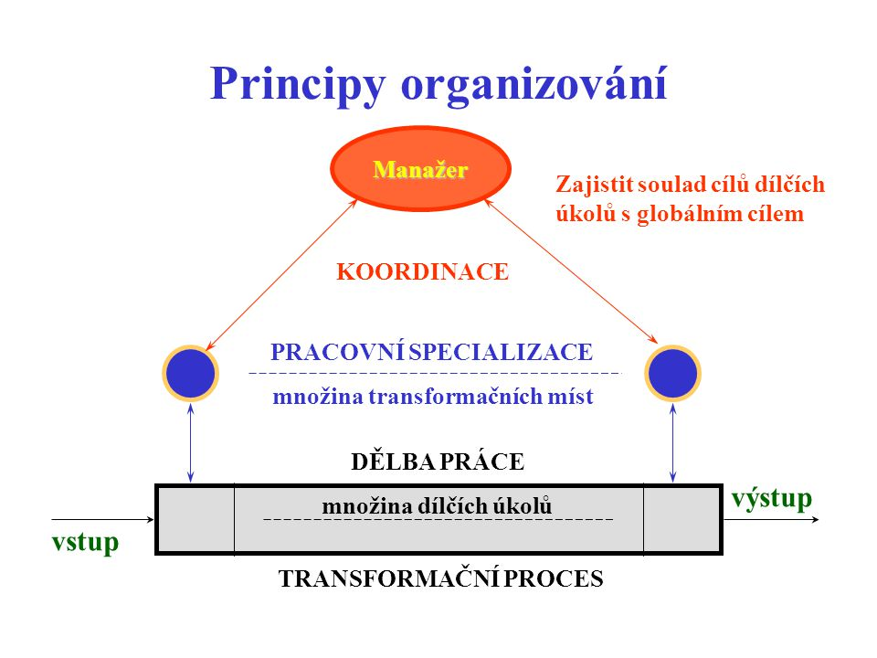 Principy organizování vstup výstup množina dílčích úkolů DĚLBA PRÁCE množina transformačních míst PRACOVNÍ SPECIALIZACE Zajistit soulad cílů dílčích úkolů s globálním cílem KOORDINACE Manažer TRANSFORMAČNÍ PROCES