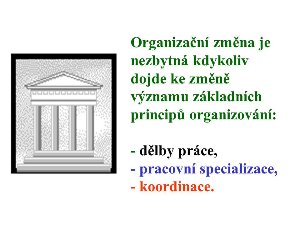 Organizační změna je nezbytná kdykoliv dojde ke změně významu základních principů organizování: - dělby práce, - pracovní specializace, - koordinace.