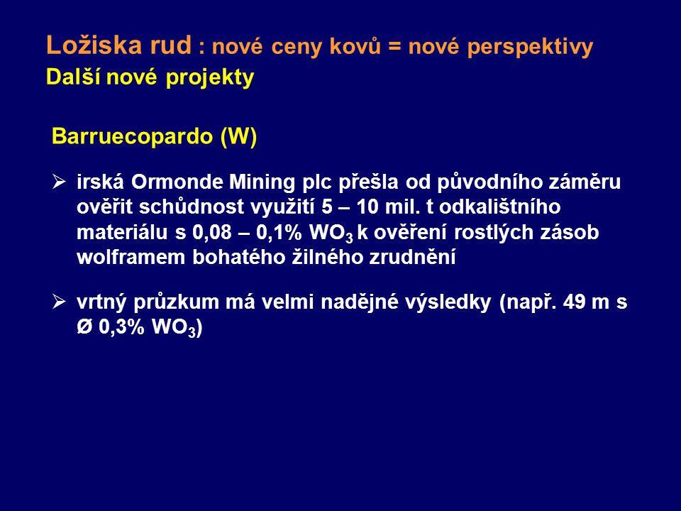 Ložiska rud : nové ceny kovů = nové perspektivy Další nové projekty Barruecopardo (W)  irská Ormonde Mining plc přešla od původního záměru ověřit schůdnost využití 5 – 10 mil.