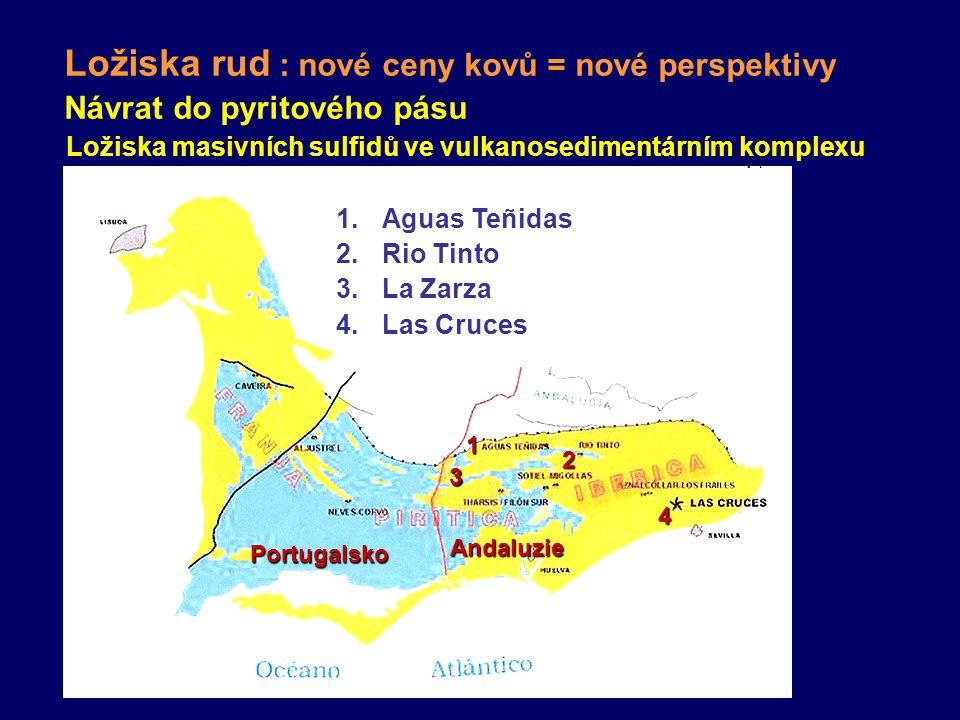 Návrat do pyritového pásu Ložiska masivních sulfidů ve vulkanosedimentárním komplexu 1.Aguas Teñidas 2.Rio Tinto 3.La Zarza 4.Las Cruces 1 2 3 4 Portugalsko Andaluzie