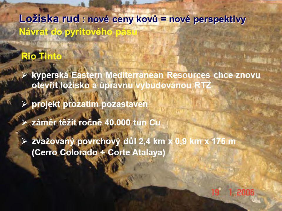 Ložiska rud : nové ceny kovů = nové perspektivy Návrat do pyritového pásu Rio Tinto  kyperská Eastern Mediterranean Resources chce znovu otevřít ložisko a úpravnu vybudovanou RTZ  projekt prozatím pozastaven  záměr těžit ročně 40.000 tun Cu  zvažovaný povrchový důl 2,4 km x 0,9 km x 175 m (Cerro Colorado + Corte Atalaya)