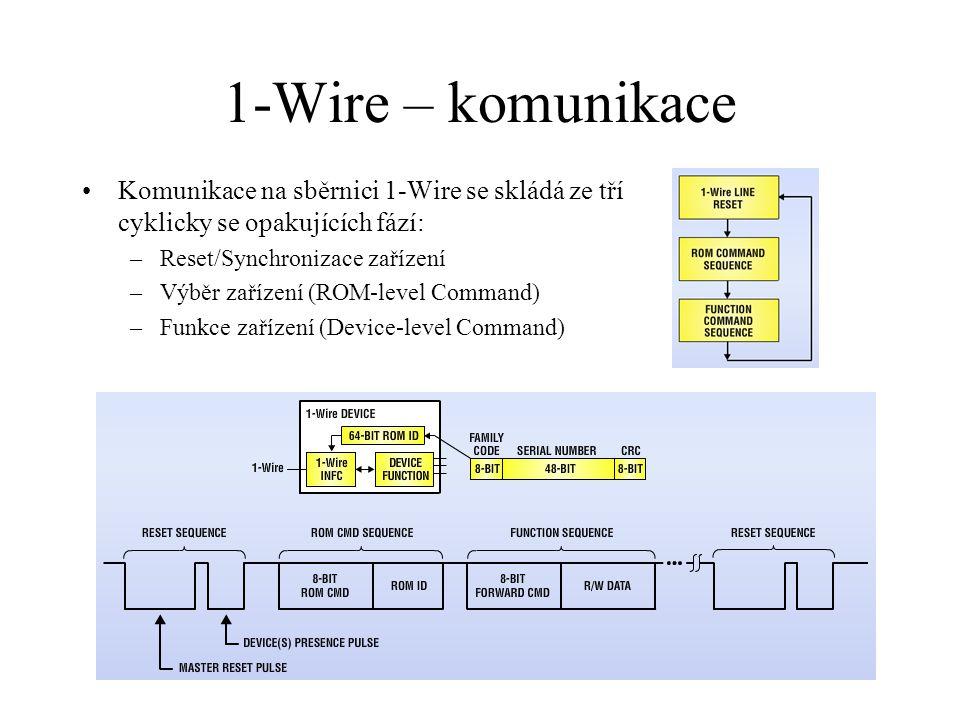 1-Wire – komunikace Komunikace na sběrnici 1-Wire se skládá ze tří cyklicky se opakujících fází: –Reset/Synchronizace zařízení –Výběr zařízení (ROM-level Command) –Funkce zařízení (Device-level Command)