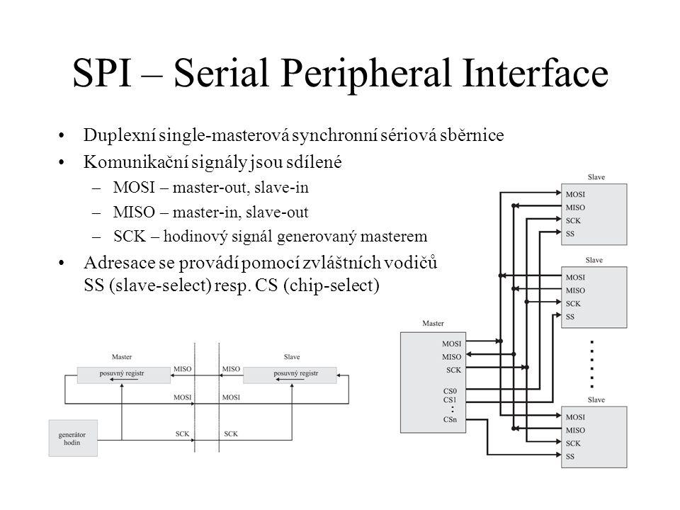 SPI – Serial Peripheral Interface Duplexní single-masterová synchronní sériová sběrnice Komunikační signály jsou sdílené –MOSI – master-out, slave-in –MISO – master-in, slave-out –SCK – hodinový signál generovaný masterem Adresace se provádí pomocí zvláštních vodičů SS (slave-select) resp.