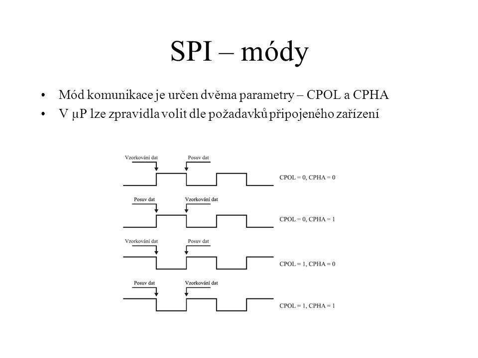 SPI – módy Mód komunikace je určen dvěma parametry – CPOL a CPHA V µP lze zpravidla volit dle požadavků připojeného zařízení