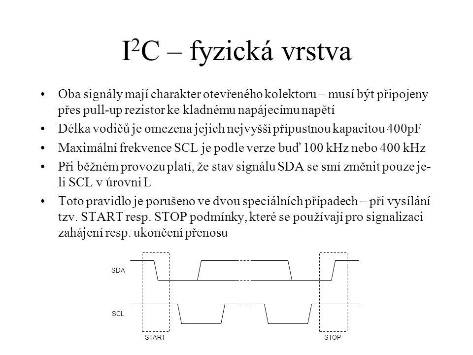 I 2 C – fyzická vrstva Oba signály mají charakter otevřeného kolektoru – musí být připojeny přes pull-up rezistor ke kladnému napájecímu napětí Délka vodičů je omezena jejich nejvyšší přípustnou kapacitou 400pF Maximální frekvence SCL je podle verze buď 100 kHz nebo 400 kHz Při běžném provozu platí, že stav signálu SDA se smí změnit pouze je li SCL v úrovni L Toto pravidlo je porušeno ve dvou speciálních případech – při vysílání tzv.