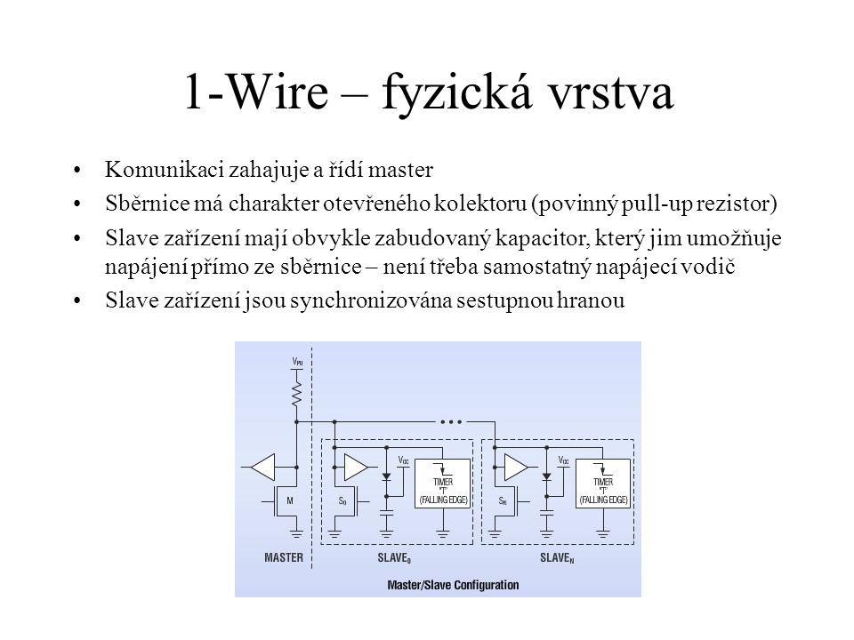 1-Wire – fyzická vrstva Komunikaci zahajuje a řídí master Sběrnice má charakter otevřeného kolektoru (povinný pull-up rezistor) Slave zařízení mají obvykle zabudovaný kapacitor, který jim umožňuje napájení přímo ze sběrnice – není třeba samostatný napájecí vodič Slave zařízení jsou synchronizována sestupnou hranou